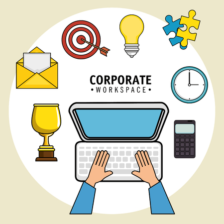 businessperson: Corporate workspace design with office supplies  and hands working on computer over light background vector illustration