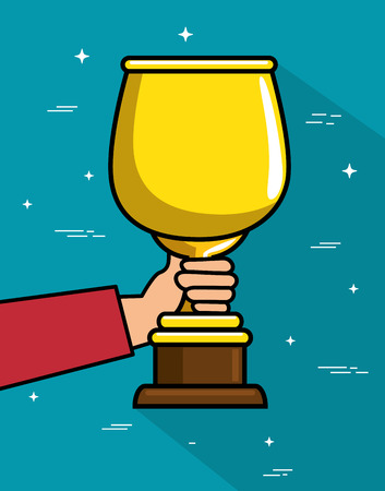 Hand holding trophy over teal background vector illustration Illustration
