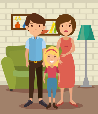 parenthood: Cute family at the living room colorful design vector illustration