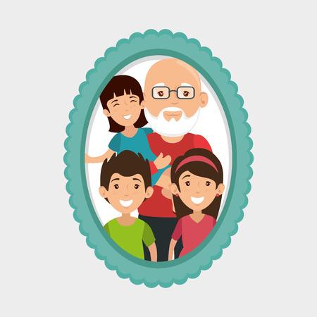 흰색 배경 벡터 일러스트 레이 션 위에 프레임과 할아버지와 손자 초상화