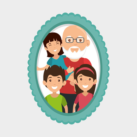 Grandfather and grandchildren portrait with frame over white background vector illustration