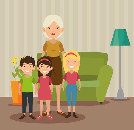 リビング ルームのカラフルなデザインで孫とおばあちゃんのベクトル イラスト  イラスト・ベクター素材