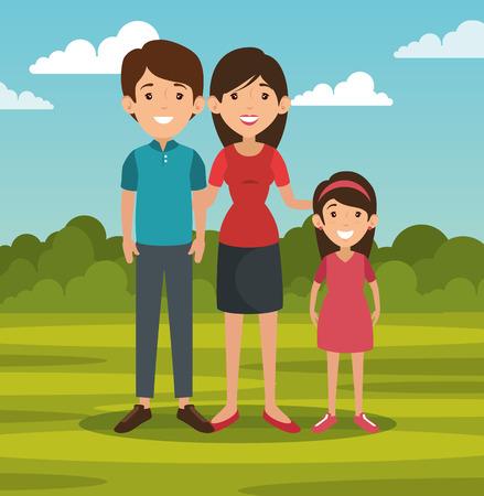 屋外風景のベクター グラフィックの背後に立っている家族