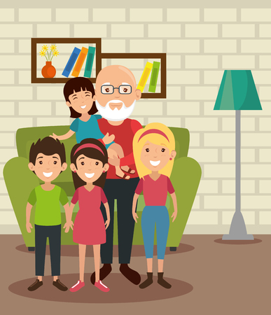 Grandpa and grandchildren at the living room colorful design vector illustration Illustration
