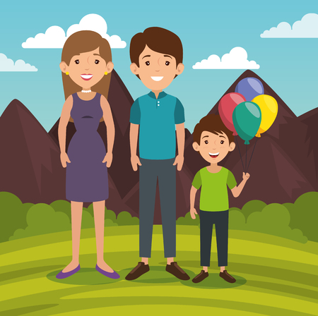 parenthood: Standing family with balloons and outdoors landscape behind vector illustration Illustration