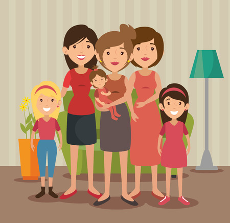 Big family at the living room colorful design vector illustration Illustration