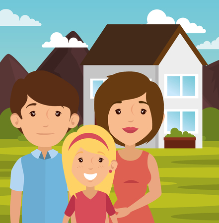 parenthood: Family with outdoors landscape and house behind vector illustration