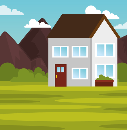 Outdoors landscape with house and mountains vector illustration