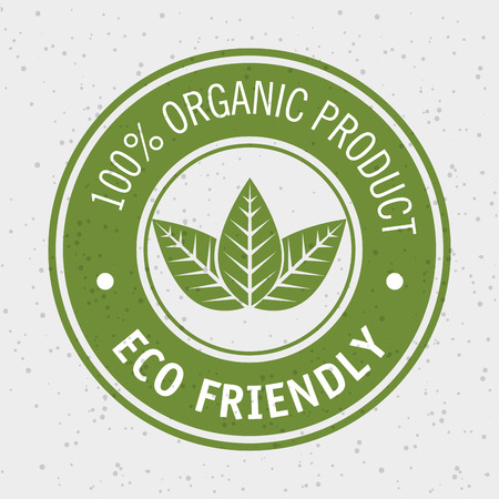 100 percent organic product eco friendly label with leaves over white background vector illustration