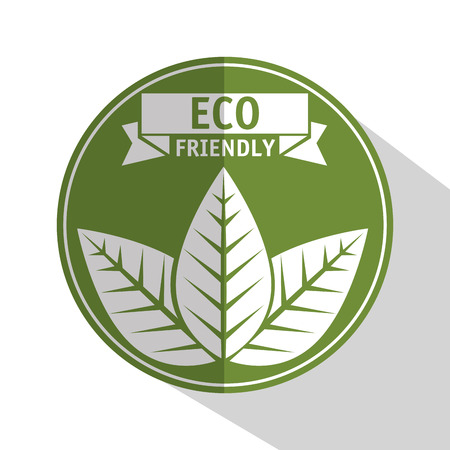 Eco friendly label with leaves over white background vector illustration 向量圖像
