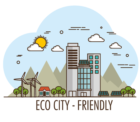Eco friendly city design with wind turbines and solar panel over white background vector illsutration Illustration