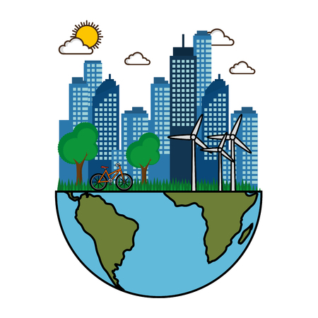 風タービン自転車惑星地球デザイン ベクトル図の半分とフレンドリーなエコシティ