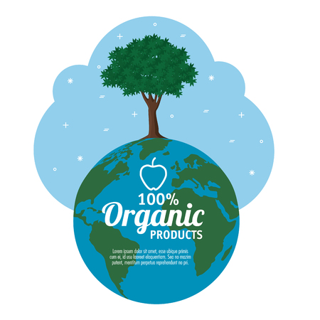 100 percent organic products label with globe and tree over white background vector illustration Ilustracja
