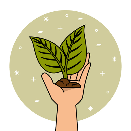 Hand holding a crop and soil over green and white background vector illustration Illustration