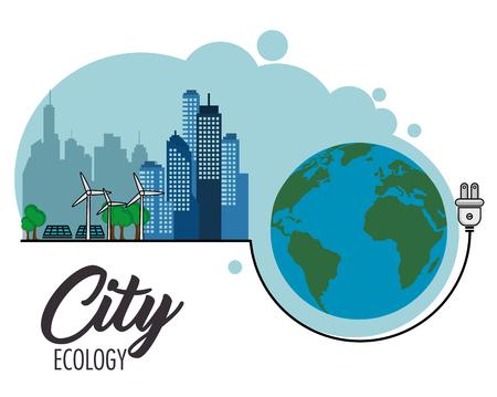 Eco-vriendelijke stad met windturbines en zonnepanelen naast handschoen en stekker over witte achtergrond vectorillustratie