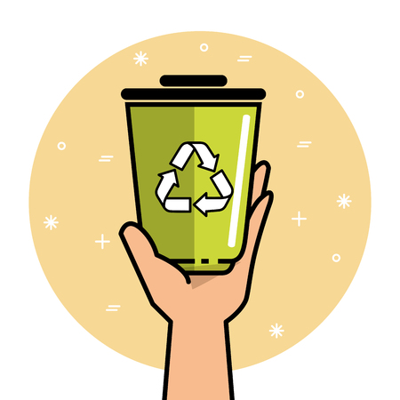 Hand holding a recycle can over yellow and white background vector illustration