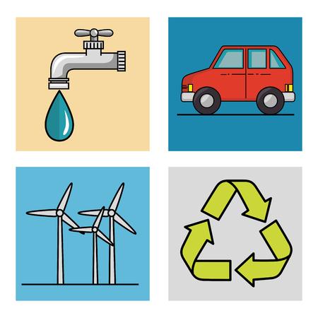 Ícones de objetos relacionados com Eco amigável, definidos sobre fundo branco, ilustração vetorial
