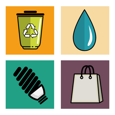 Eco friendly oggetti correlati set di icone su sfondo bianco illustrazione vettoriale Archivio Fotografico - 80453234