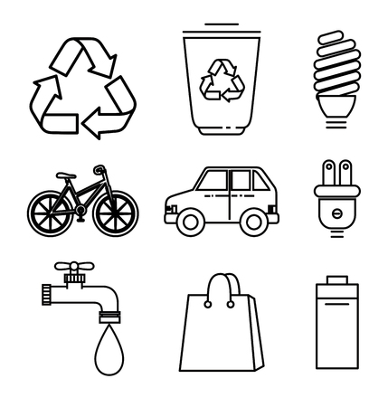 Hand drawn eco friendly objects set over white background vector illustration Illustration