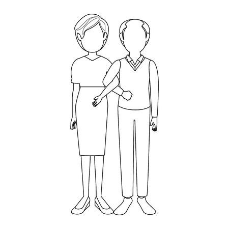 結婚カップル古いアイコン ベクトル イラスト グラフィック デザイン