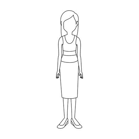 young woman cartoon icon vector illustration graphic design 向量圖像