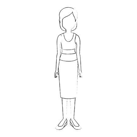 Jeune femme dessin animé icône vector illustration graphisme Banque d'images - 80536330