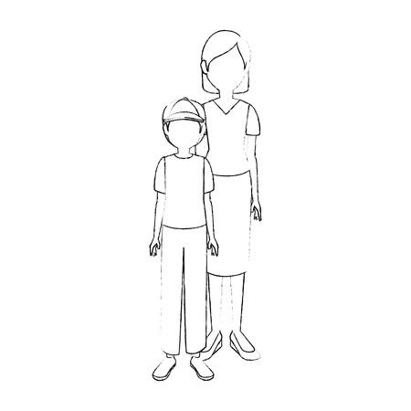 mother son cartoon icon vector illustration graphic design