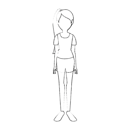 若い女性漫画アイコン ベクトル イラスト グラフィック デザイン  イラスト・ベクター素材