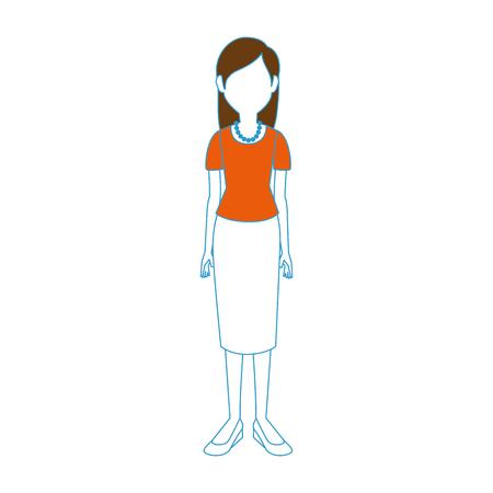 young woman cartoon icon vector illustration graphic design Illustration