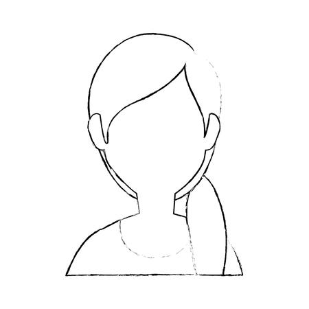여자 얼굴이없는 머리 아이콘 벡터 일러스트 그래픽 디자인