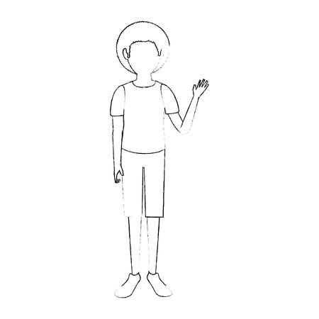 Ontwerp van de het pictogram het vectorillustratie van het jonge mensenbeeldverhaal het grafische Stock Illustratie