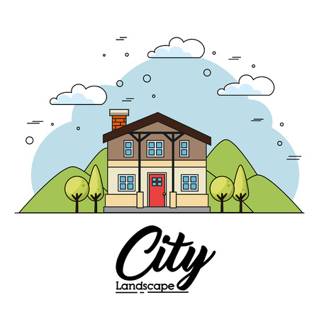Front view of house with trees and mountains over white background vector illustration Çizim