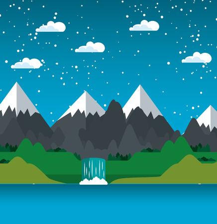 Mountains with snow waterfall and river landscape vector illustration 向量圖像