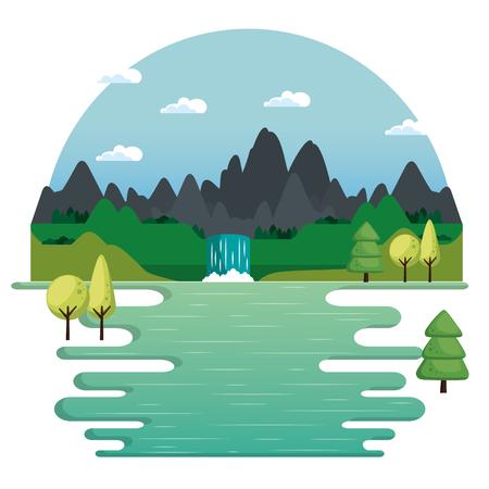Ilustración de vector de paisaje de cascada y lago de montañas Foto de archivo - 80569936