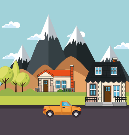 Houses with mountains and dunes behind vector illustration