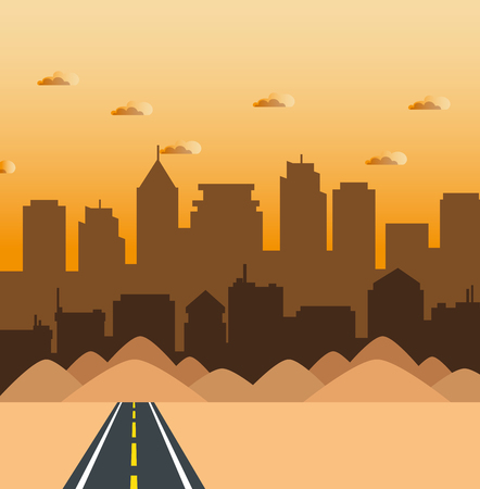 Weg met duinen en stadshorizon achter vectorillustratie Stock Illustratie