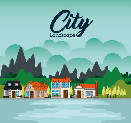 Country houses with lake and mountains landscape vector illustration