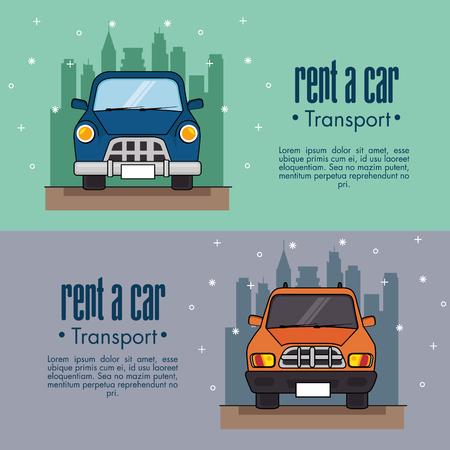 Huur een auto infographic met vooraanzicht van voertuigen en stadshorizon erachter over wintertaling en lilac vectorillustratie als achtergrond Stock Illustratie