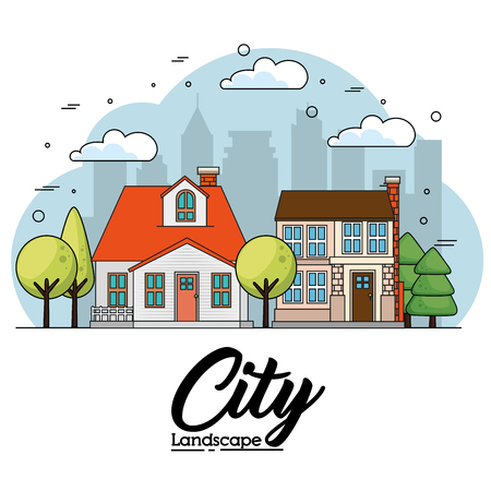 Front view of houses with trees and city skyline over white background vector illustration