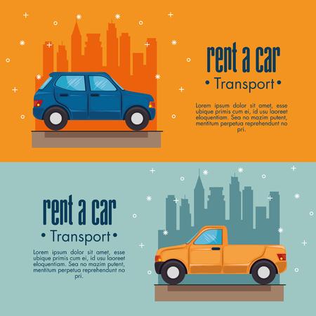 louer une voiture infographie avec des véhicules et ville horizon derrière sur fond bleu et orange illustration vectorielle