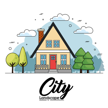 Front view of house with trees and city lanscape sign over white background vector illustration Illustration