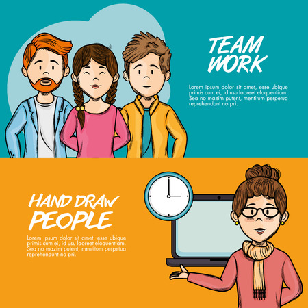 Hand drawn people and team work infographics over orange and teal background vector illustration Иллюстрация