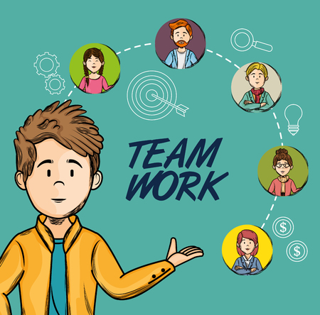 Hand drawn man with team work sign and people icons over teal background vector illustration