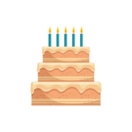 creamy: Delicious birthday cake icon vector illustration graphic design Illustration