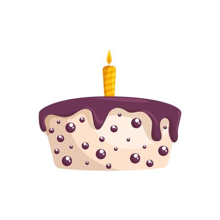 Delicious birthday cake icon vector illustration graphic design 向量圖像