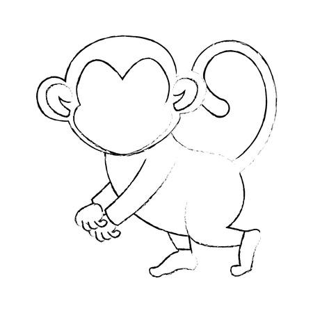 흰색 배경 벡터 일러스트 레이 션을 통해 원숭이 동물 아이콘 일러스트