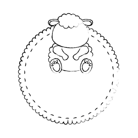frame with sheep animal icon over white background vector illustration 向量圖像