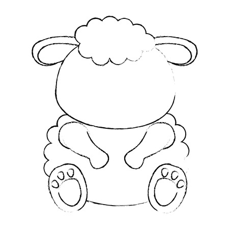 sheep animal icon over white background vector illustration