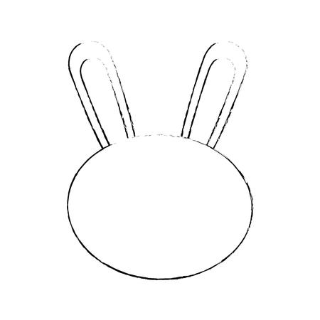 흰색 배경 벡터 일러스트 레이 션을 통해 토끼 얼굴 동물 아이콘