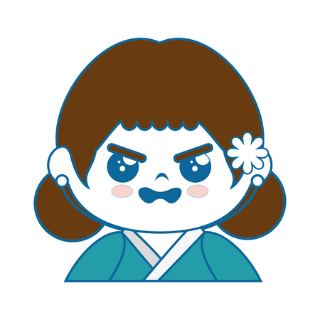 anime young: cartoon japanese girl icon over white background colorful design vector illustration